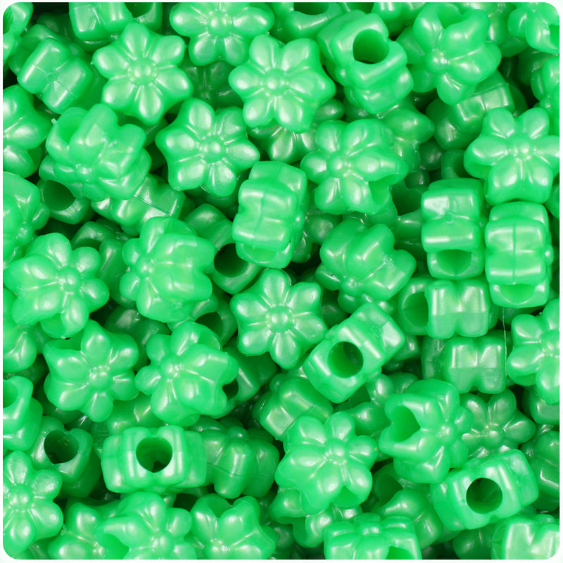 Bright Green Pearl 13mm Flower Pony Beads (250pcs)