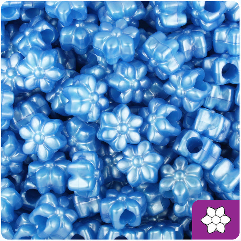 Dark Blue Pearl 13mm Flower Pony Beads (250pcs)