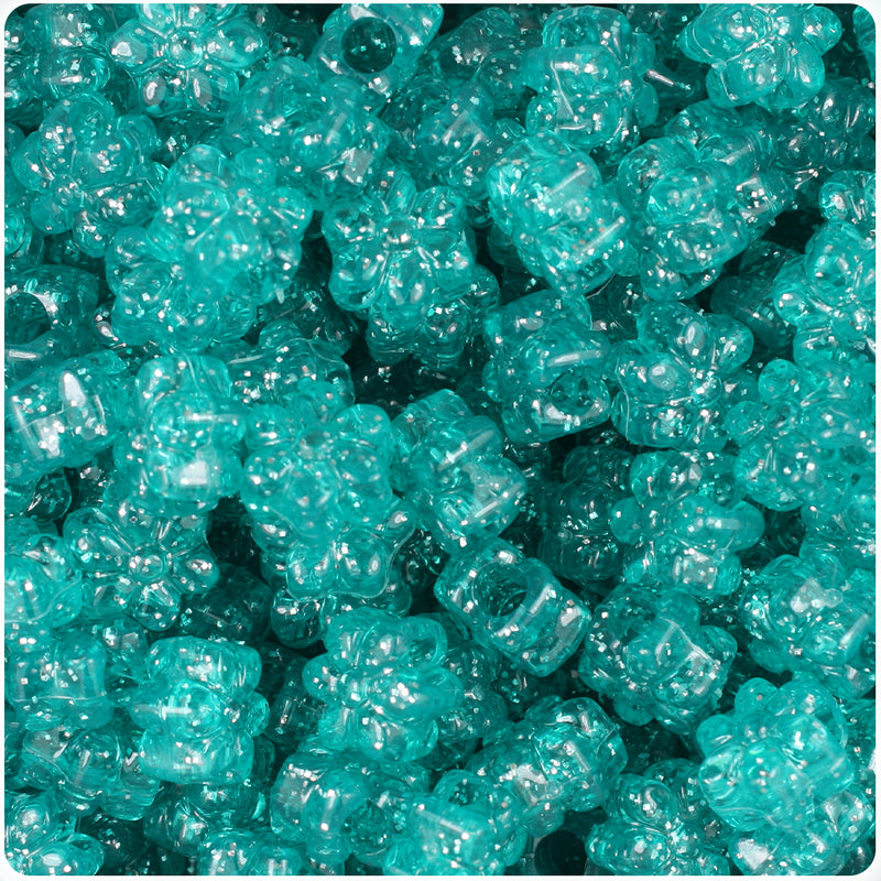 Teal Sparkle 13mm Flower Pony Beads (250pcs)