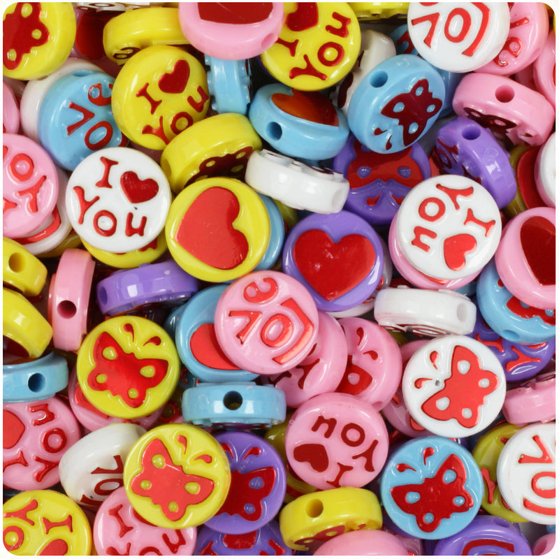 Friendship 13mm Picture Beads - Multi with Metallic Red (30pcs)