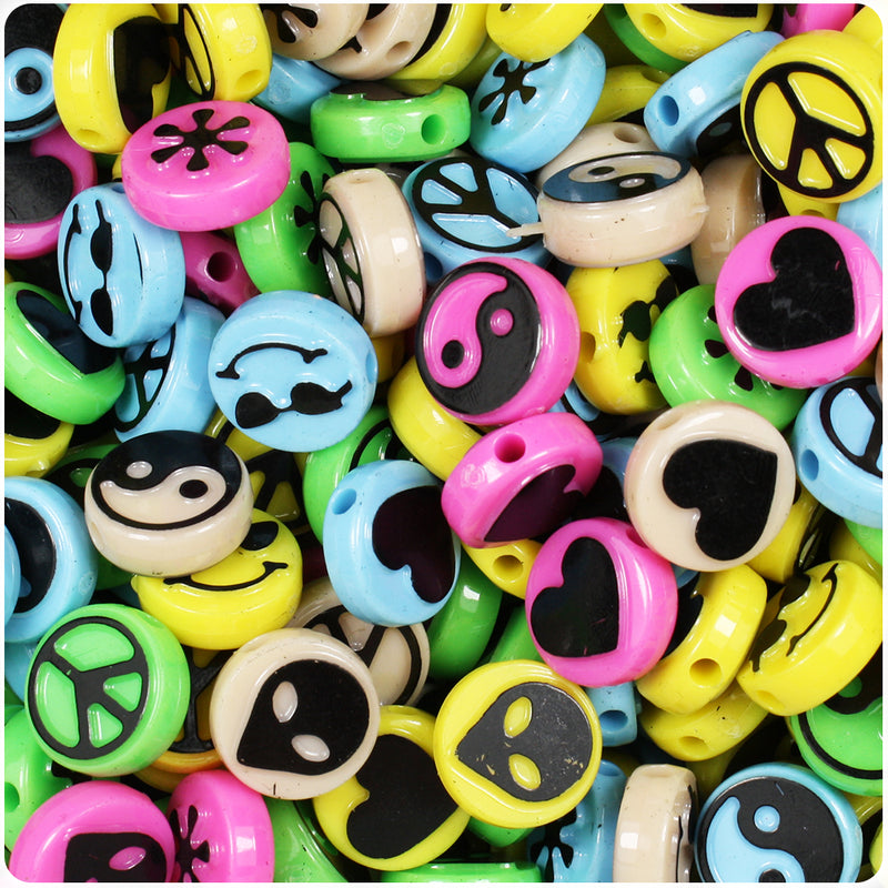 Hip 13mm Picture Beads - Multi with Black (30pcs)