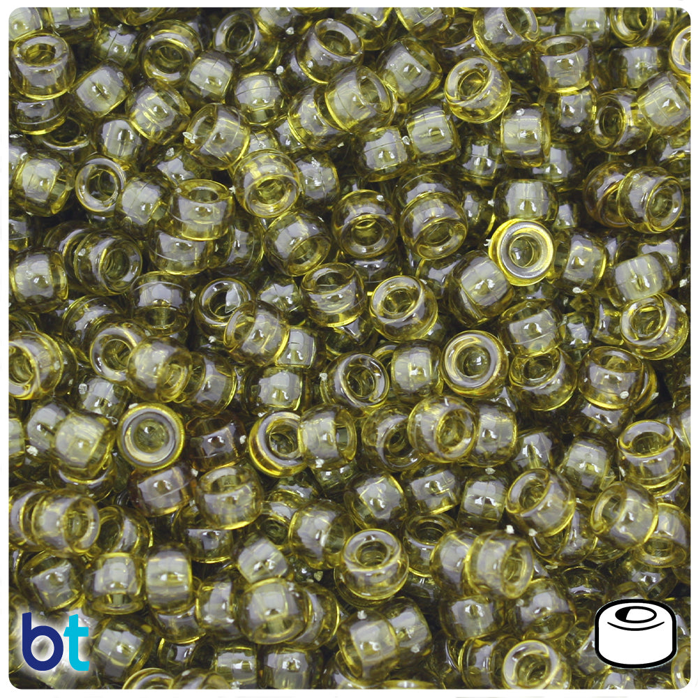 Avocado Transparent 6.5mm Mini Barrel Pony Beads (1000pcs)