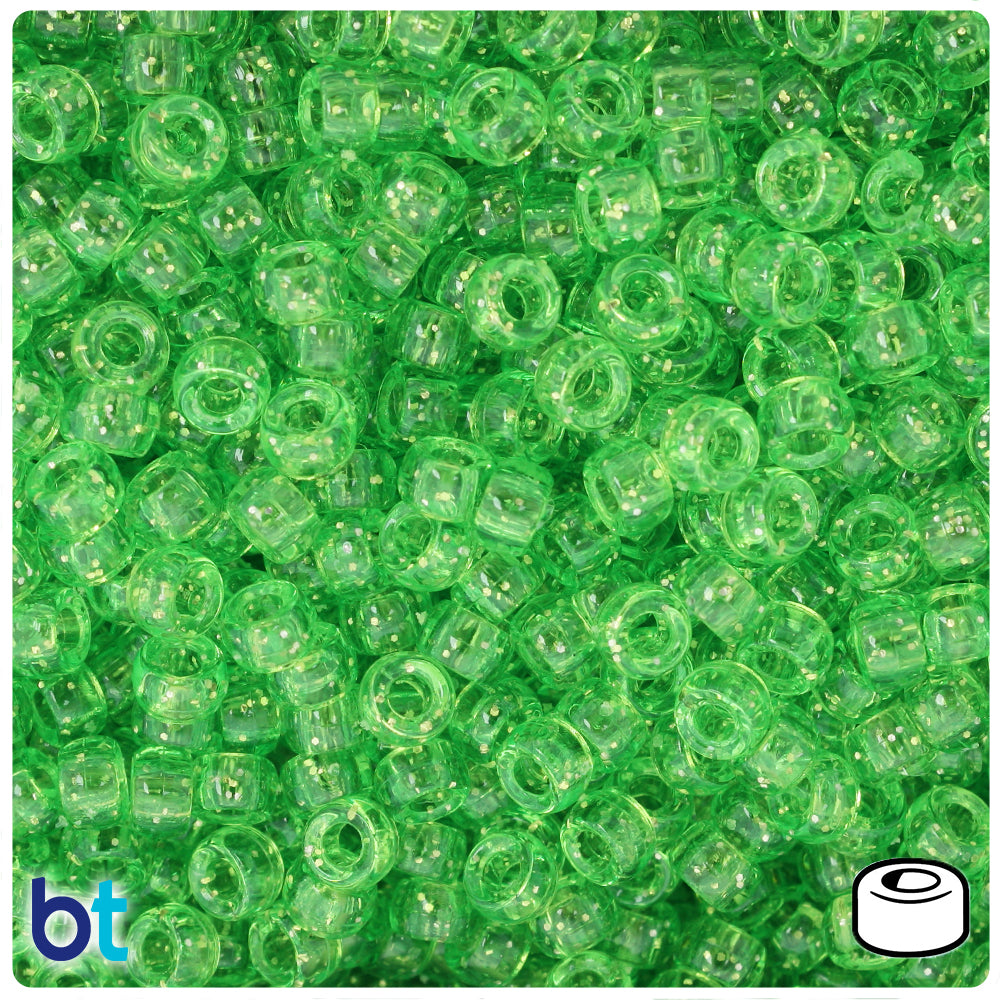 Lime Sparkle 6.5mm Mini Barrel Pony Beads (1000pcs)