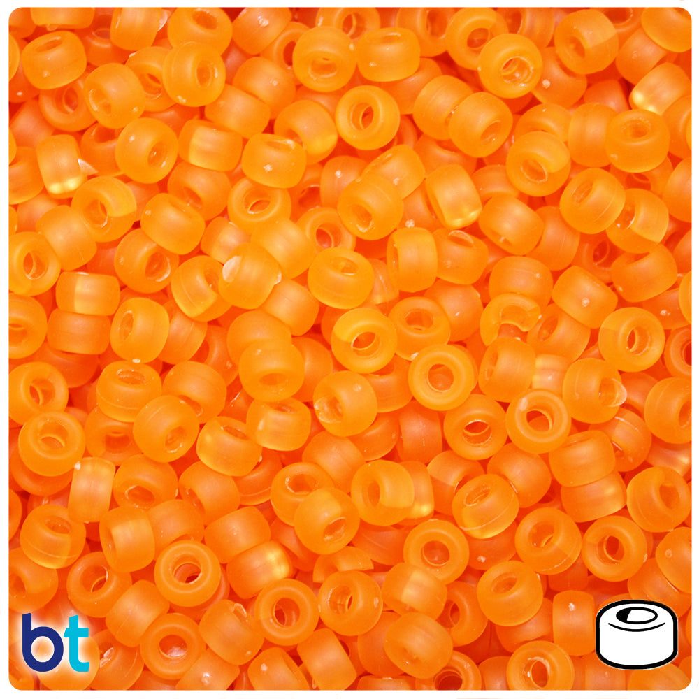 Orange Frosted 6.5mm Mini Barrel Pony Beads (1000pcs)