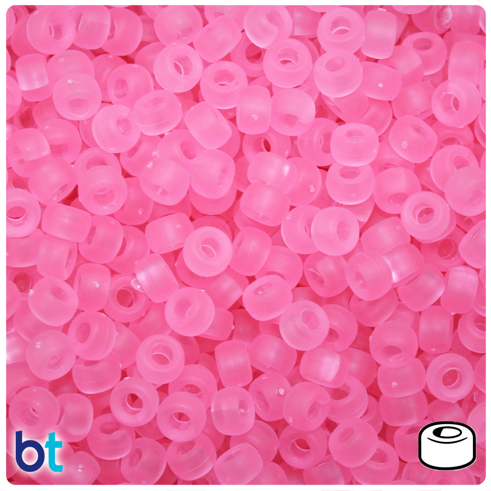 Pink Frosted 6.5mm Mini Barrel Pony Beads (1000pcs)