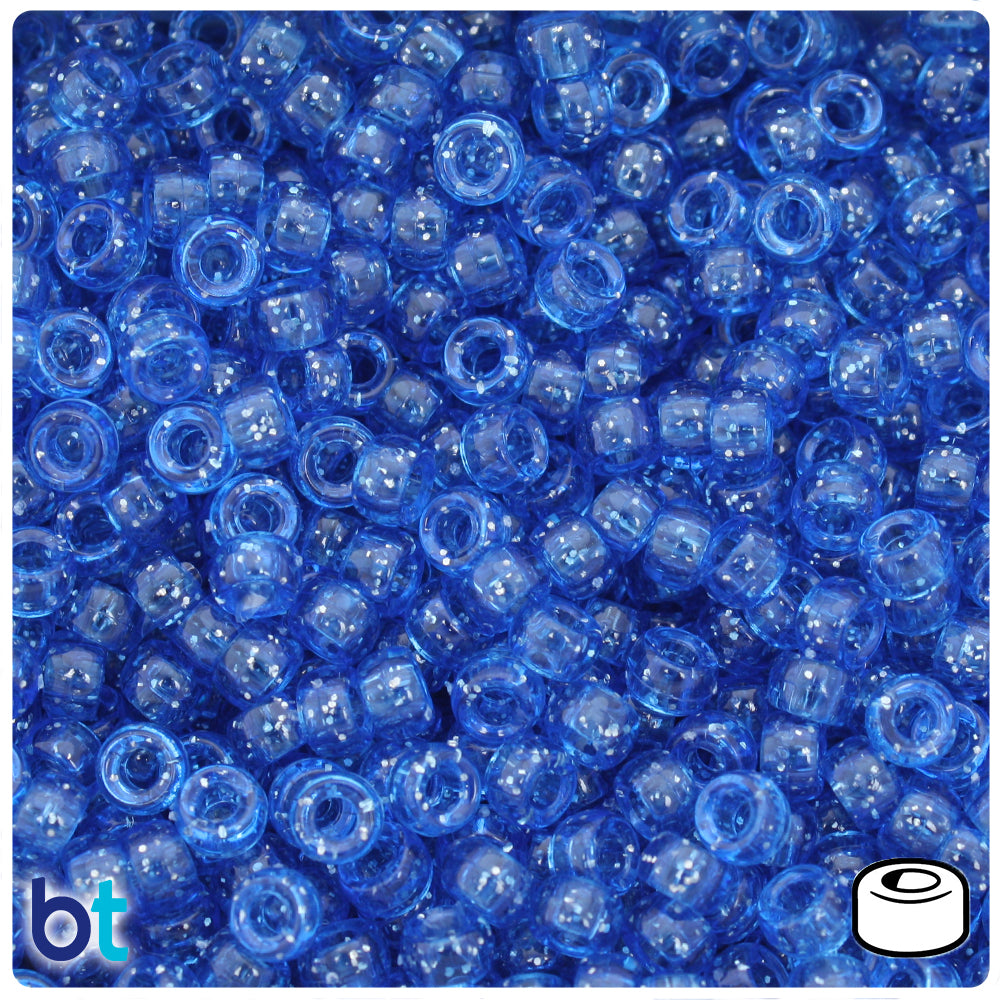 Dark Sapphire Sparkle 6.5mm Mini Barrel Pony Beads (1000pcs)