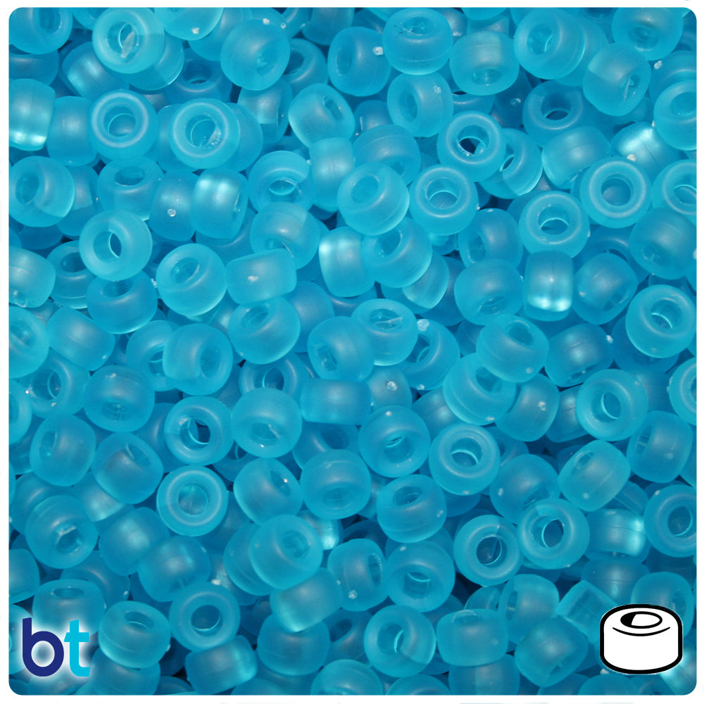 Turquoise Frosted 6.5mm Mini Barrel Pony Beads (1000pcs)
