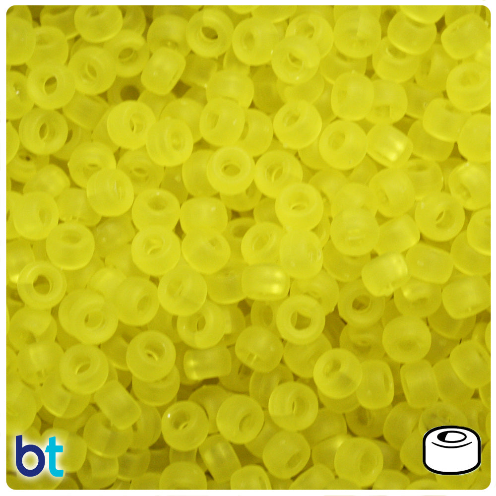 Yellow Frosted 6.5mm Mini Barrel Pony Beads (1000pcs)