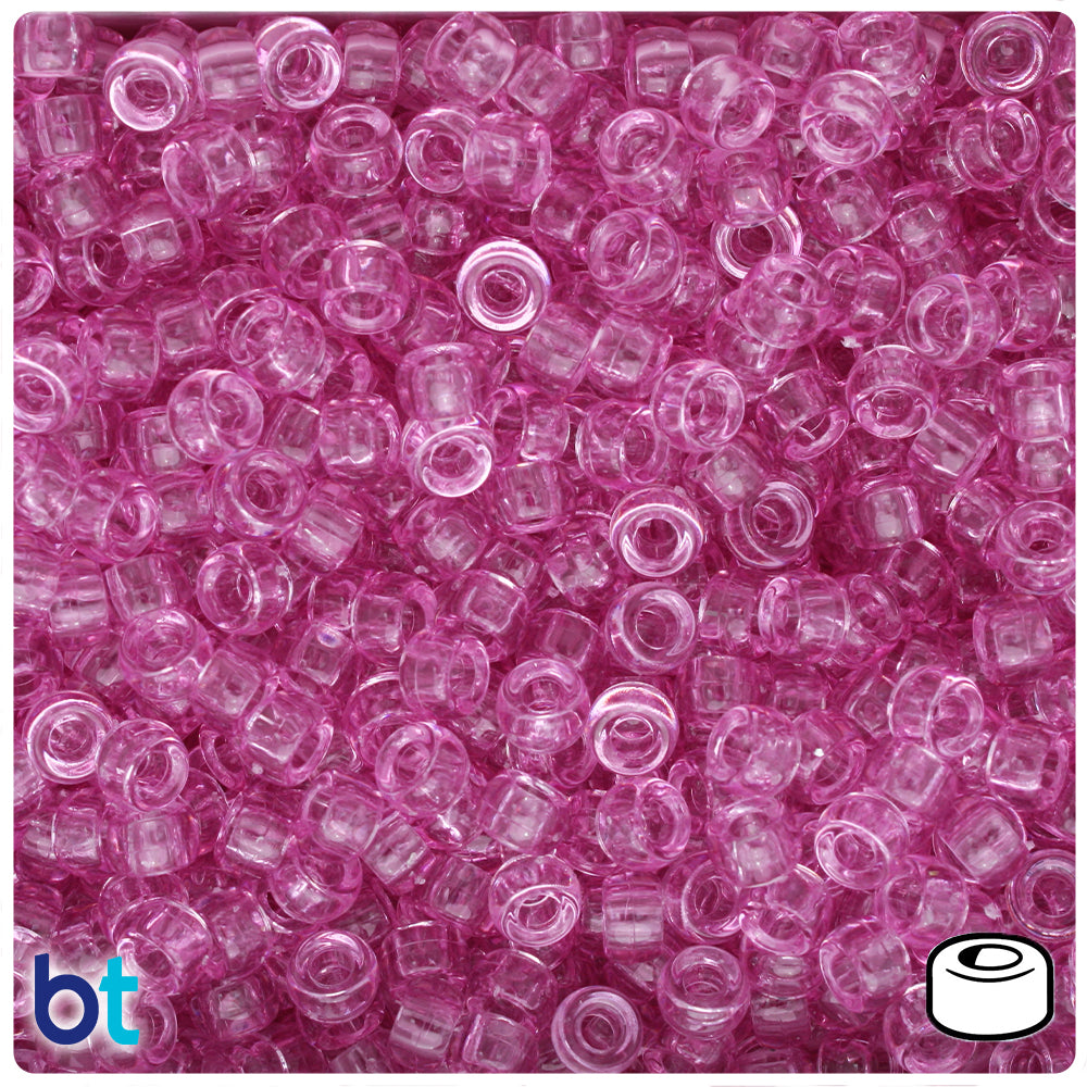 Light Fuchsia Transparent 6.5mm Mini Barrel Pony Beads (1000pcs)