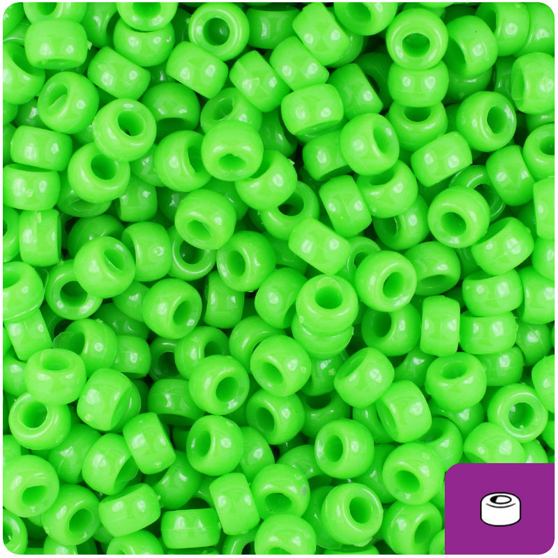 Lime Opaque 6.5mm Mini Barrel Pony Beads (1000pcs)
