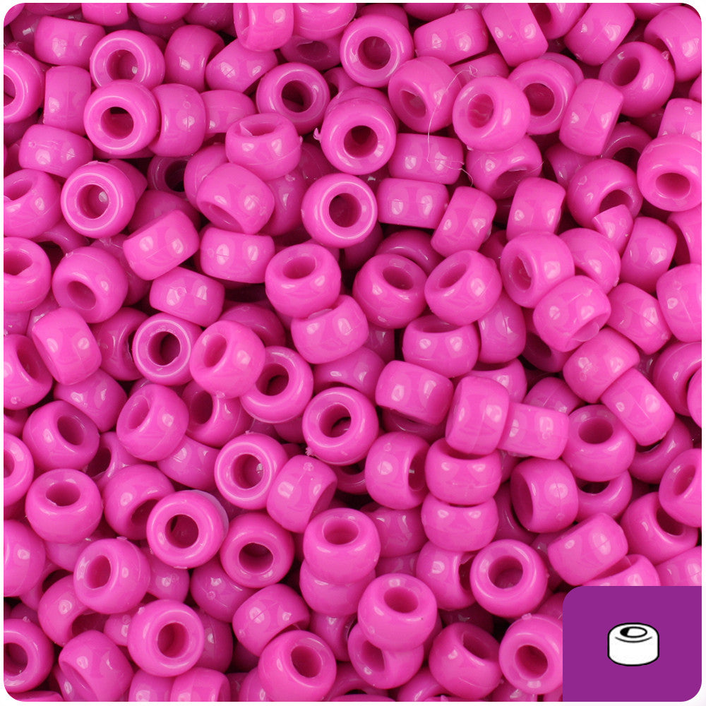 1000 Hot Pink Transparent 7mm Mini Barrel Plastic Pony Beads Made in the USA