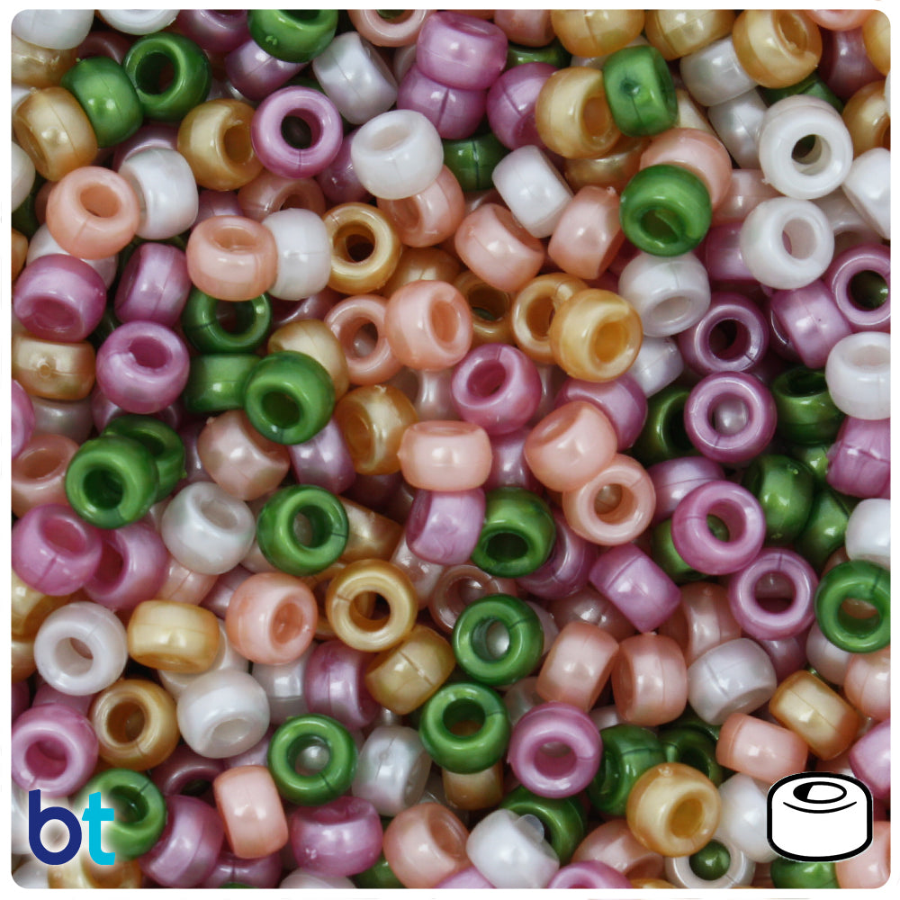 Warm Mix Pearl 6.5mm Mini Barrel Pony Beads (1000pcs)