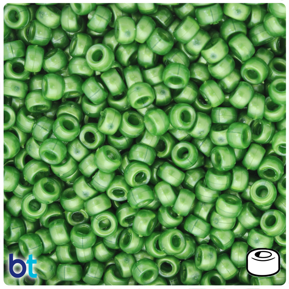 Dark Green Pearl 6.5mm Mini Barrel Pony Beads (1000pcs)