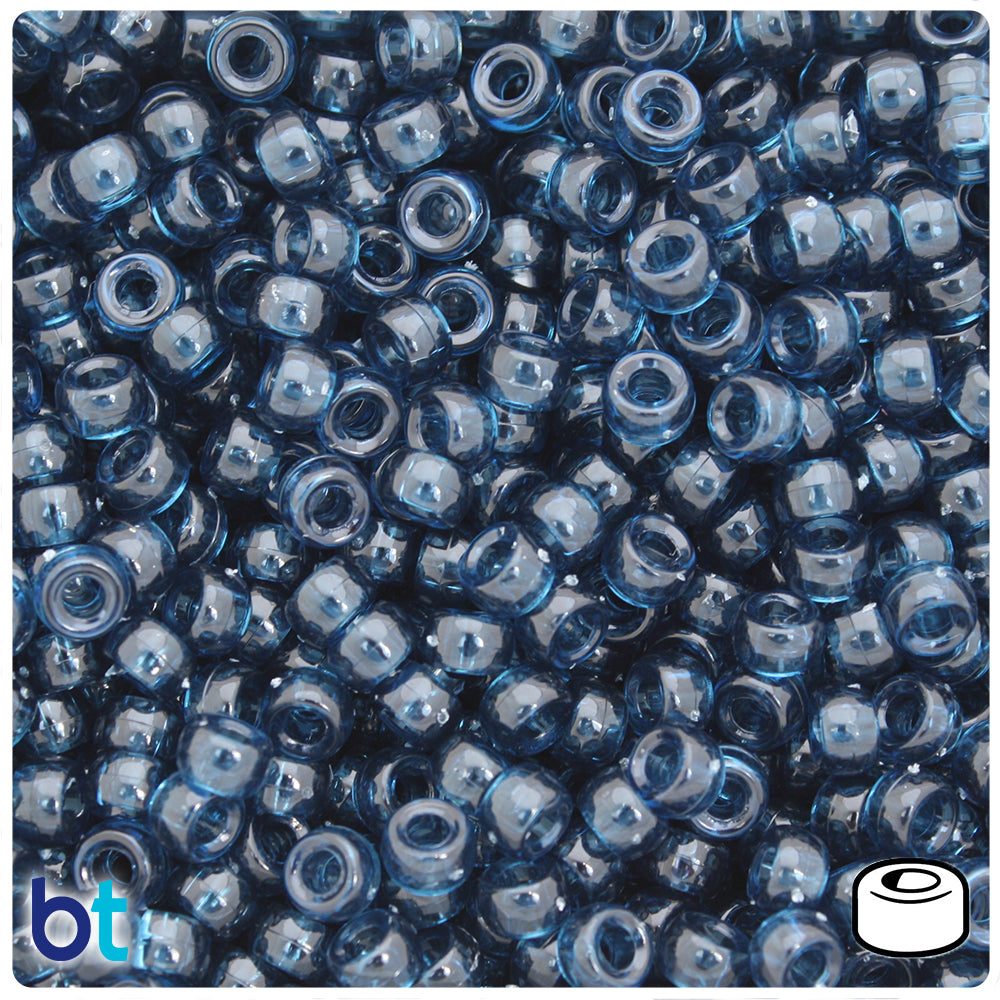 Montana Blue Transparent 6.5mm Mini Barrel Pony Beads (1000pcs)