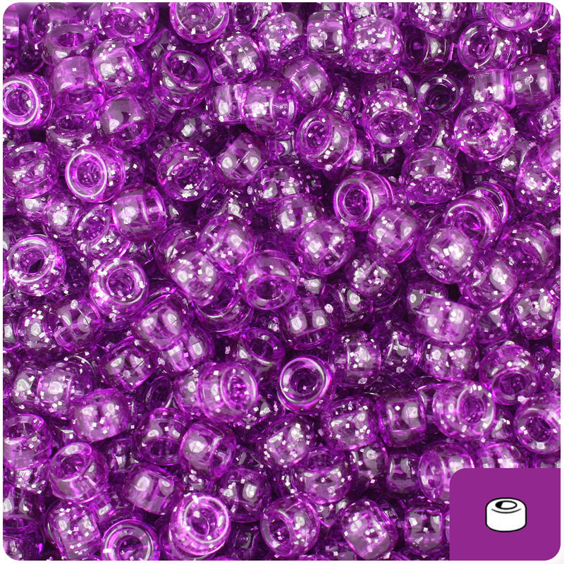 Lilac Sparkle 6.5mm Mini Barrel Pony Beads (1000pcs)
