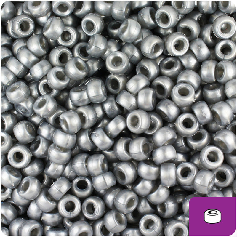 Grey Pearl 6.5mm Mini Barrel Pony Beads (1000pcs)