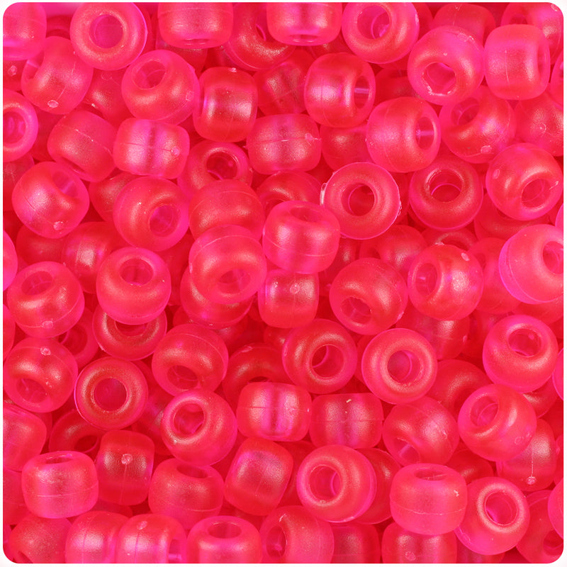 Hot Pink Frosted 9mm Barrel Pony Beads (500pcs)