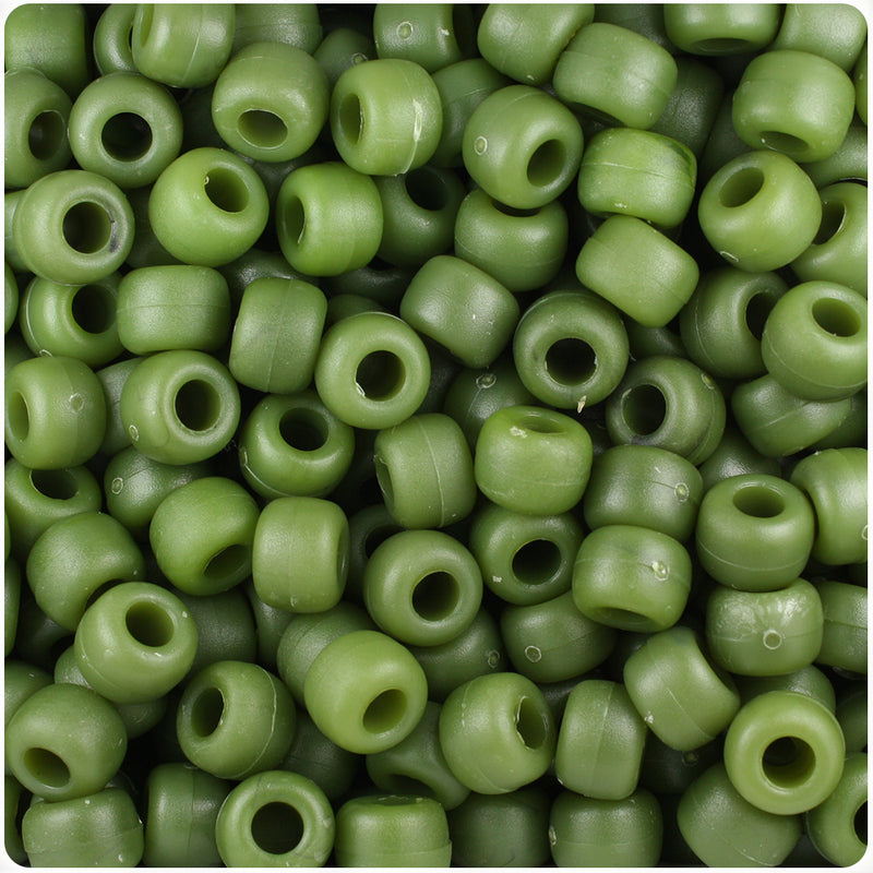 Jade Matte 9mm Barrel Pony Beads (500pcs)