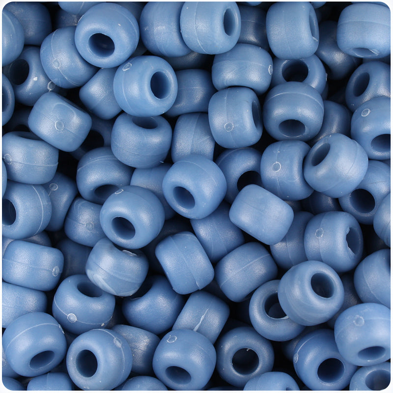 Denim Marbled Matte 9mm Barrel Pony Beads (500pcs)