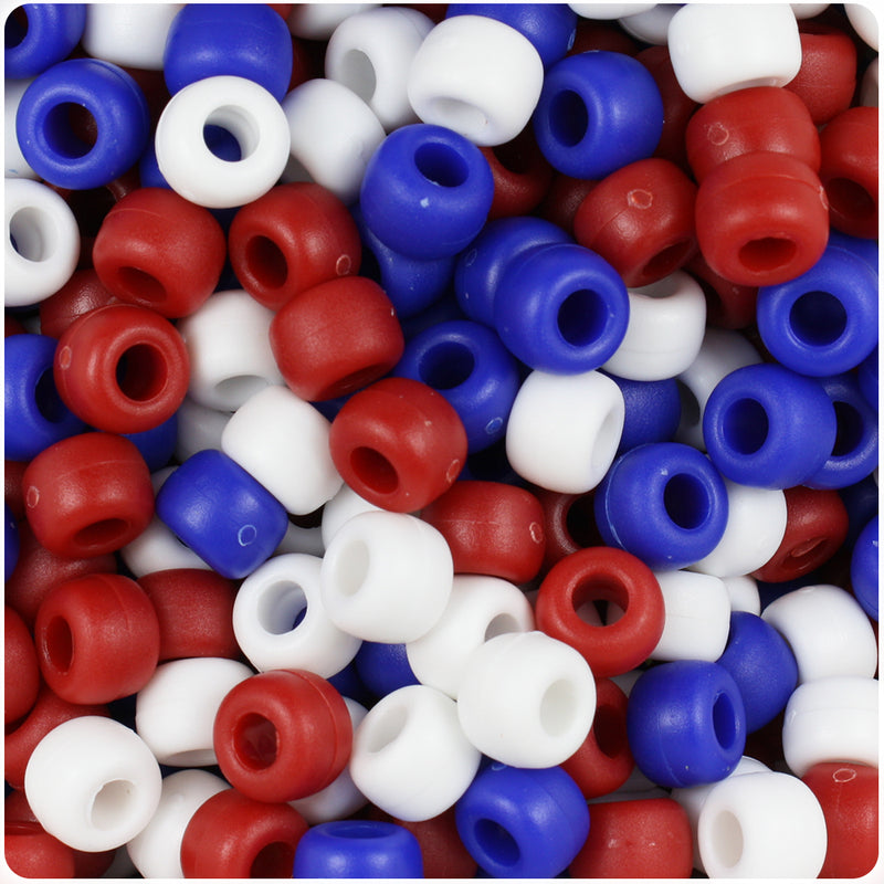 Patriotic Mix Matte 9mm Barrel Pony Beads (500pcs)