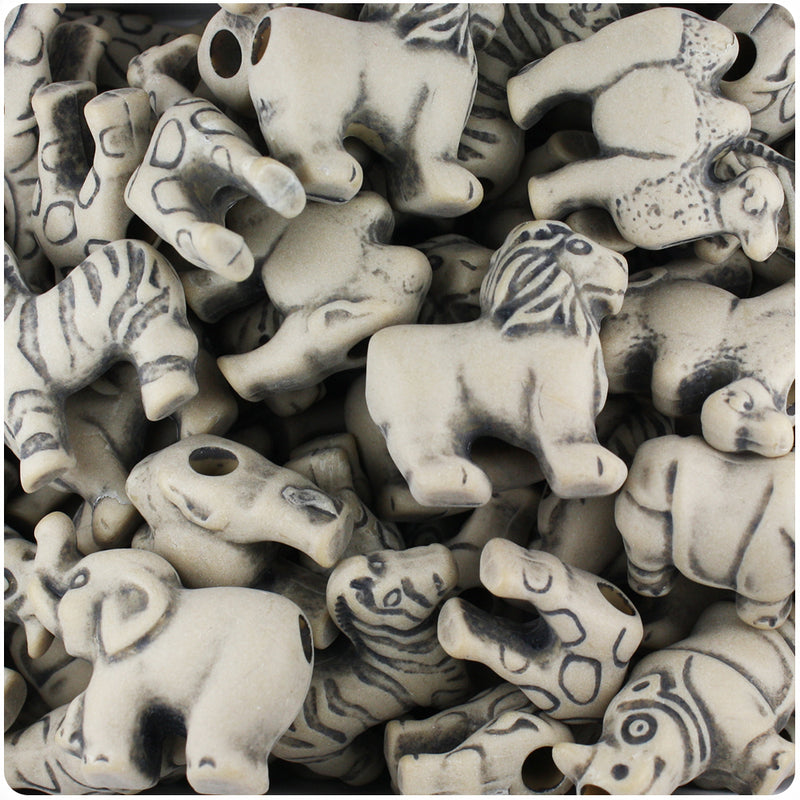Khaki Antique Safari Animal Pony Beads (55g)