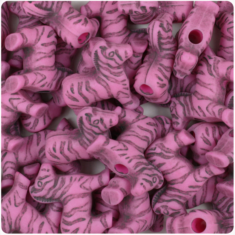 Dark Pink Antique 22mm Zebra Pony Beads (24pcs)
