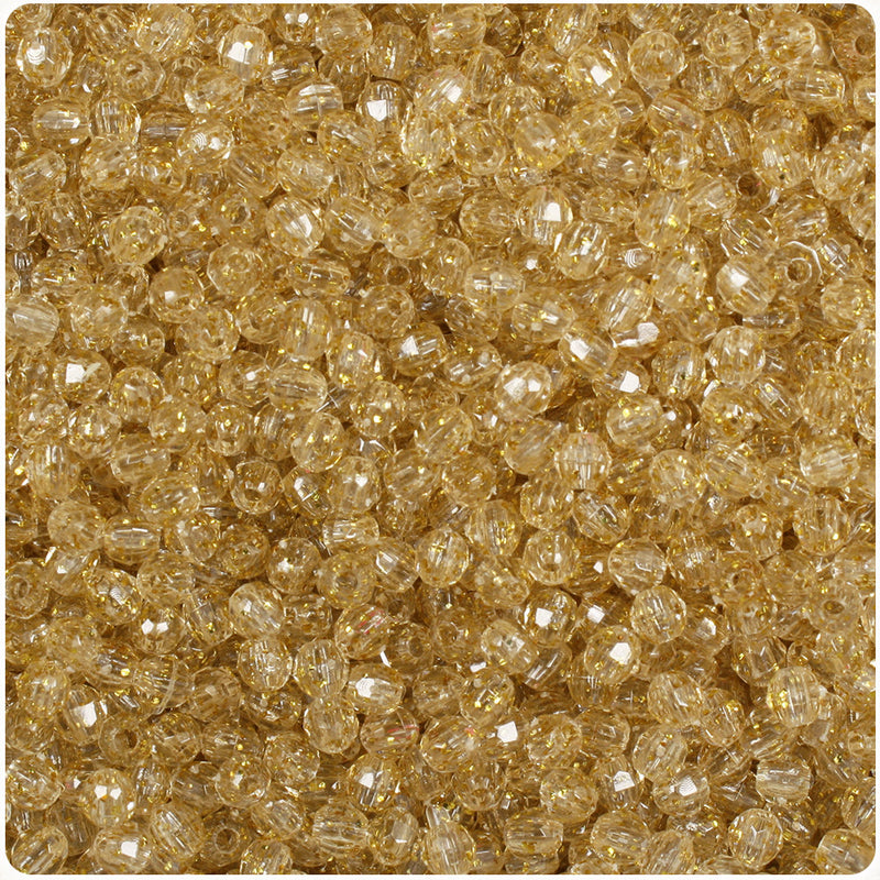 Gold Sparkle 4mm Faceted Round Craft Beads (1250pcs)