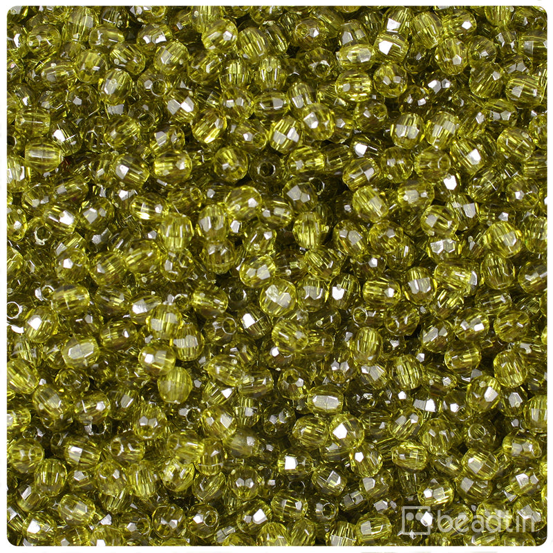 Avocado Transparent 4mm Faceted Round Craft Beads (1250pcs)