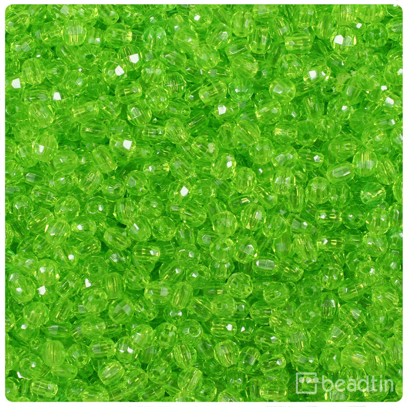Lime Transparent 4mm Faceted Round Craft Beads (1250pcs)