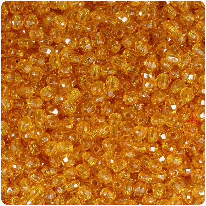 Topaz Transparent 4mm Faceted Round Craft Beads (1250pcs)