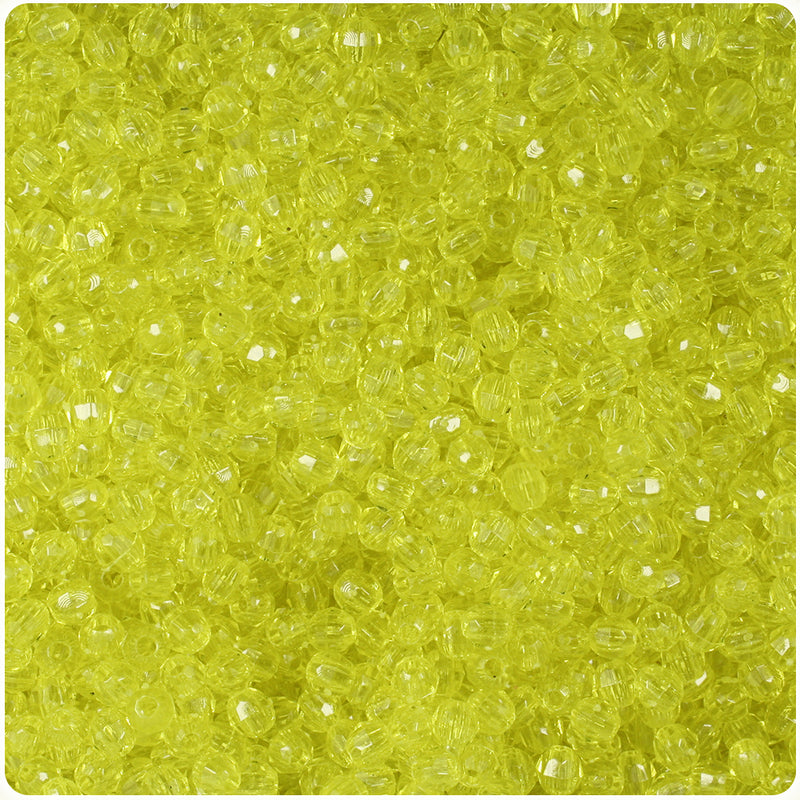 Yellow Transparent 4mm Faceted Round Craft Beads (1250pcs)