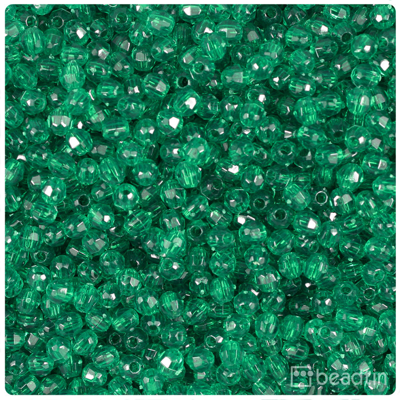 Forest Green Transparent 4mm Faceted Round Craft Beads (1250pcs)