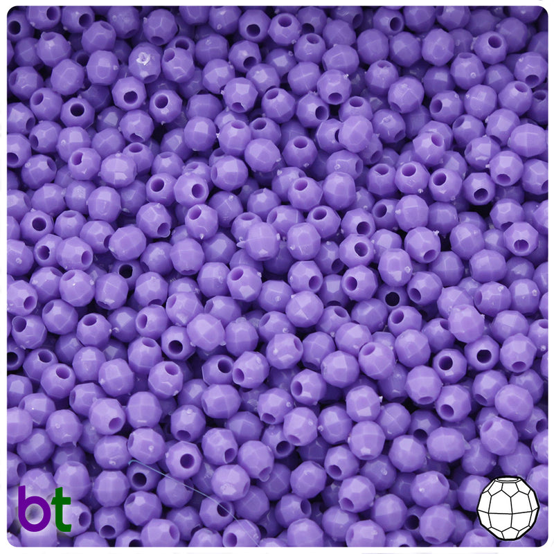 Lilac Opaque 4mm Faceted Round Craft Beads (1250pcs)