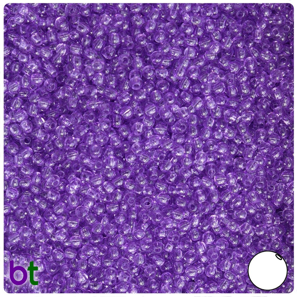 Amethyst Transparent 3mm Round Craft Beads (26g)