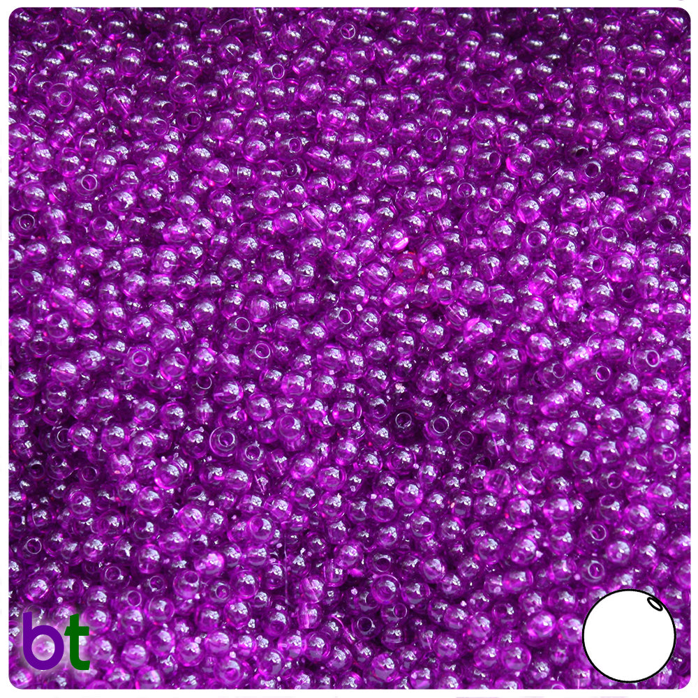 Dark Amethyst Transparent 3mm Round Craft Beads (26g)