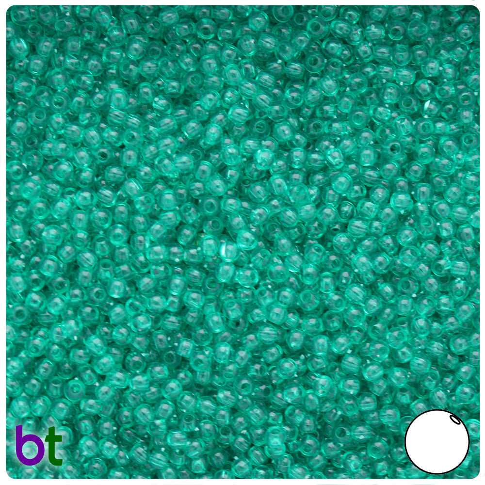 Emerald Transparent 3mm Round Craft Beads (26g)