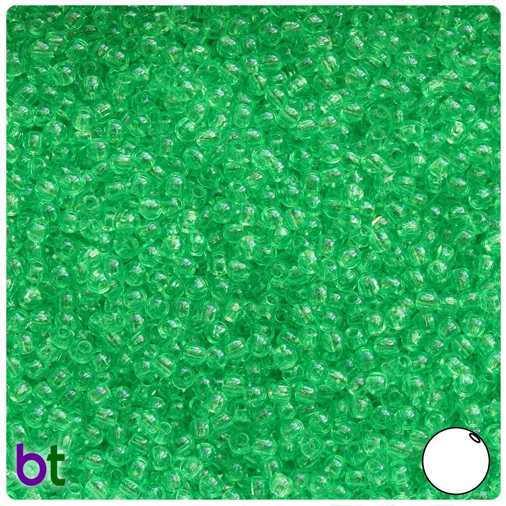 Mint Transparent 3mm Round Craft Beads (26g)