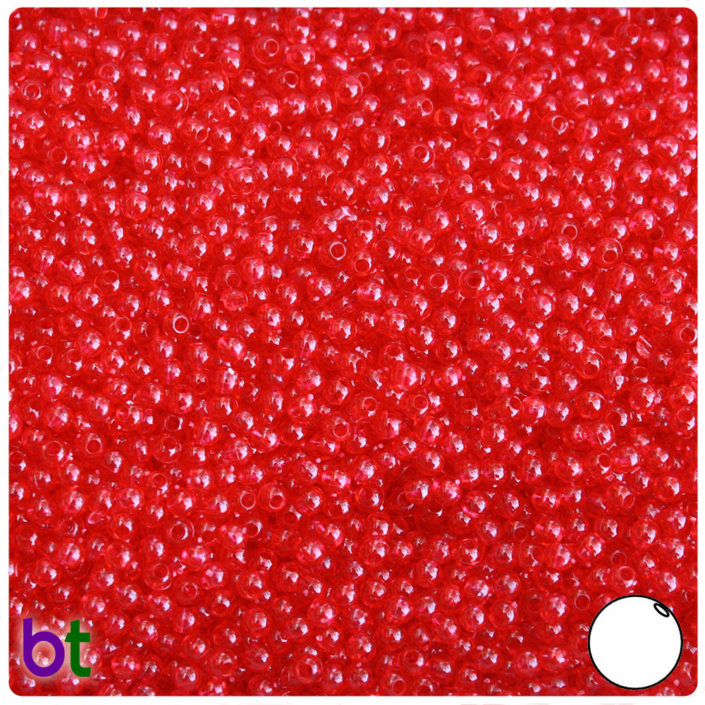 Ruby Transparent 3mm Round Craft Beads (26g)
