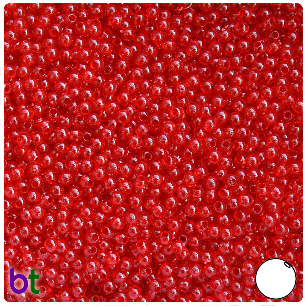 Dark Ruby Transparent 3mm Round Craft Beads (26g)