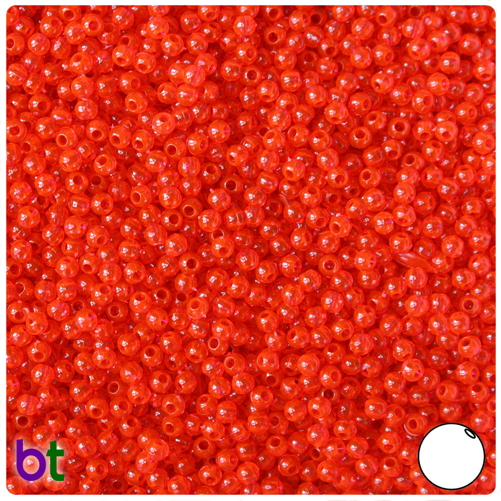Fire Red Transparent 3mm Round Craft Beads (26g)