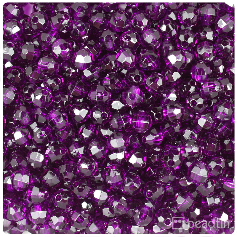 Dark Amethyst Transparent 6mm Faceted Round Craft Beads (750pcs)