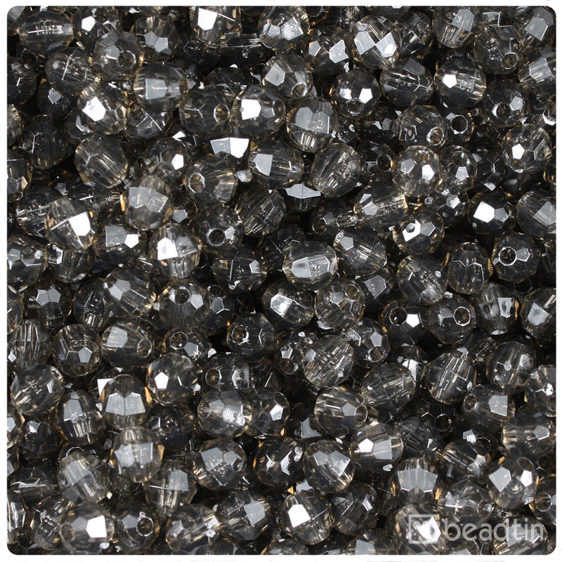 Jet Transparent 6mm Faceted Round Craft Beads (750pcs)