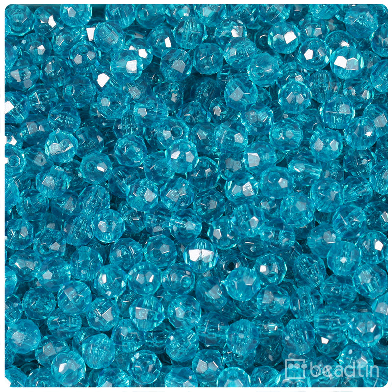 Teal Transparent 6mm Faceted Round Craft Beads (750pcs)