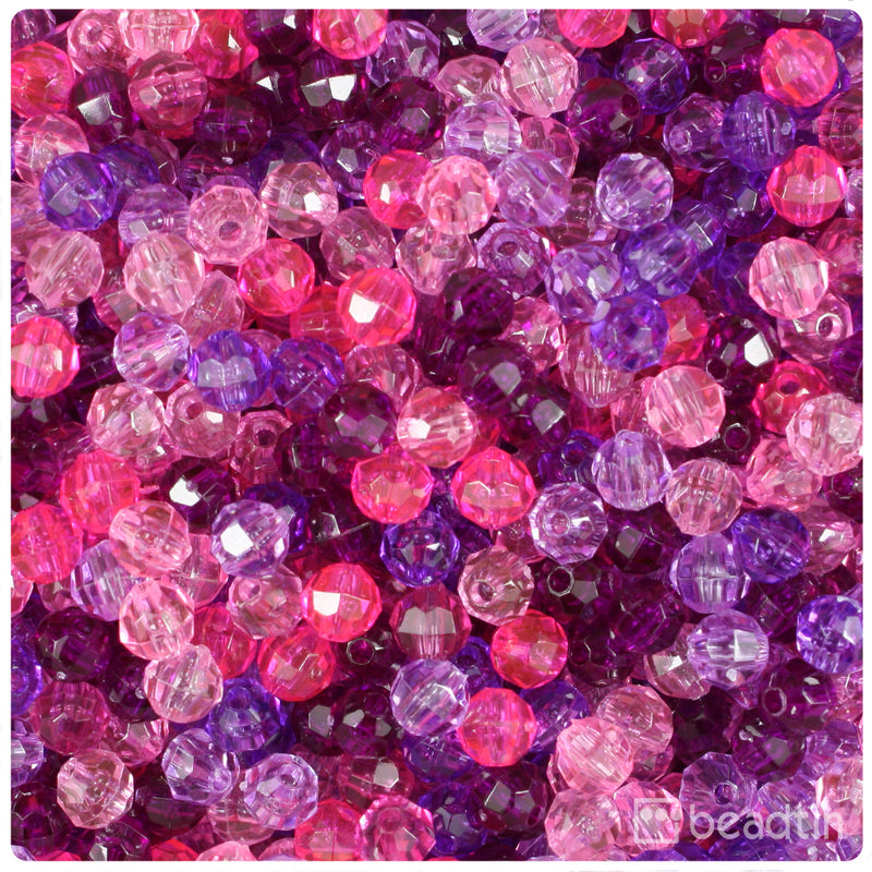 Pink & Purple Transparent 6mm Faceted Round Craft Beads (750pcs)