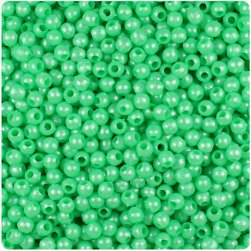 Bright Green Pearl 4mm Round Craft Beads (1000pcs)