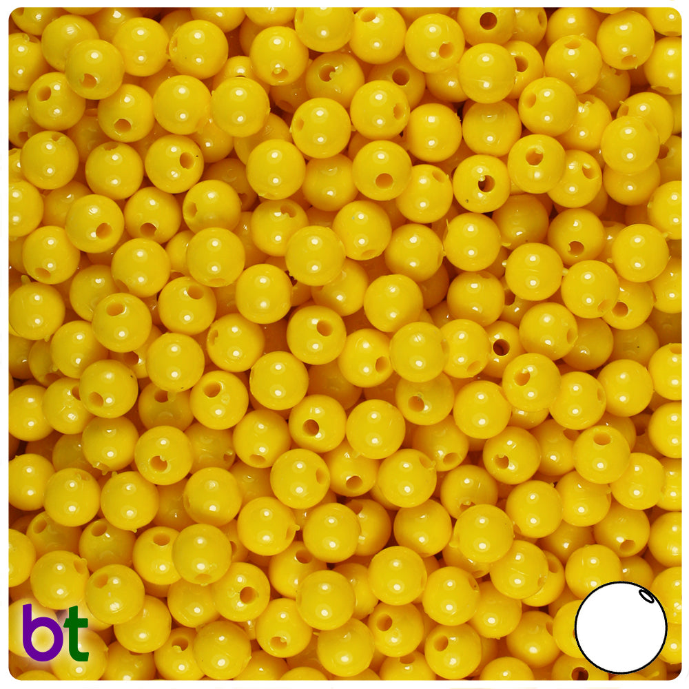 Bright Yellow Opaque 6mm Round Craft Beads (500pcs)