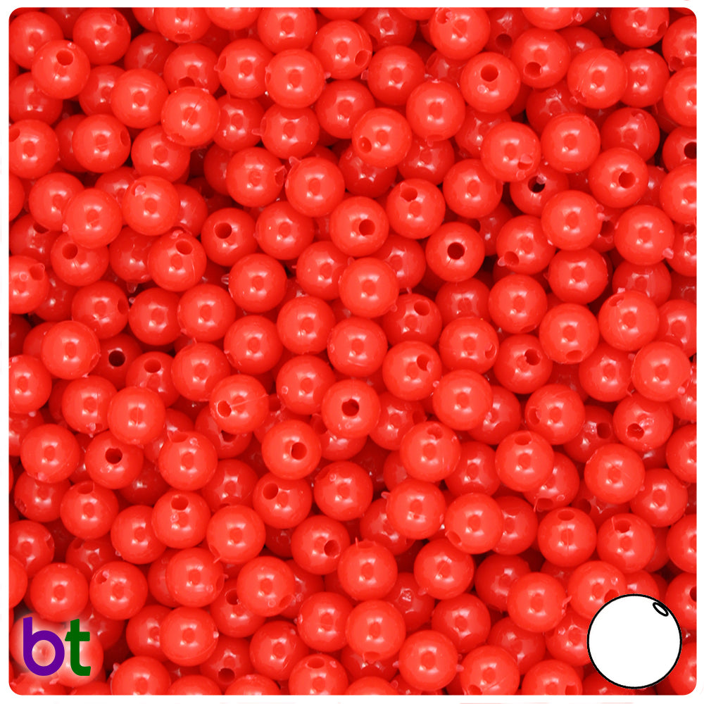 Bright Red Opaque 6mm Round Craft Beads (500pcs)