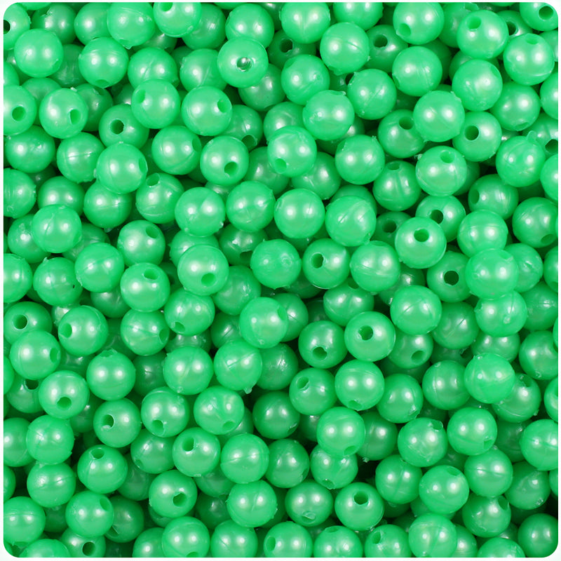 Bright Green Pearl 6mm Round Craft Beads (500pcs)