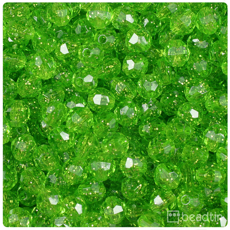 Lime Sparkle 8mm Faceted Round Craft Beads (450pcs)