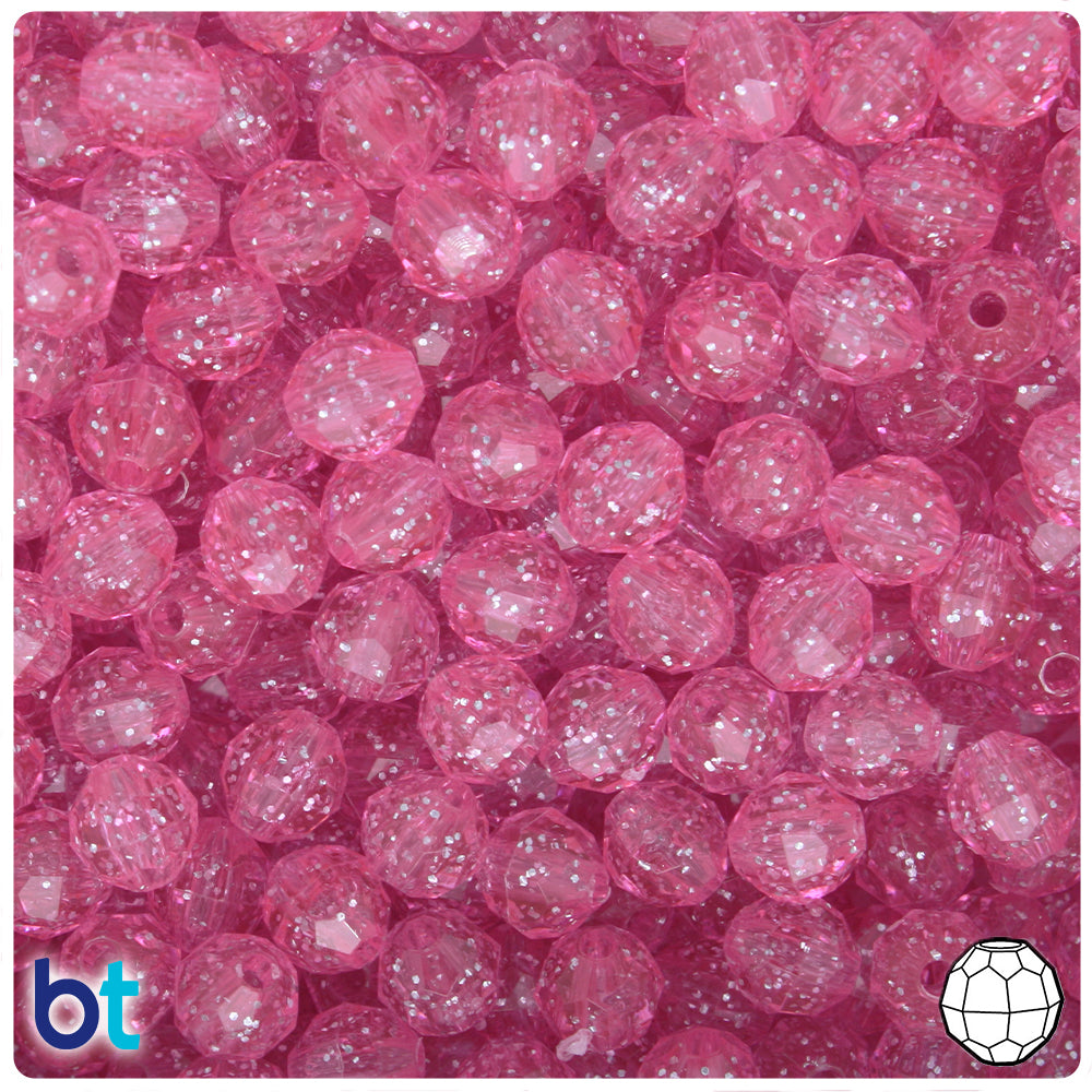 Pink Sparkle 8mm Faceted Round Craft Beads (450pcs)